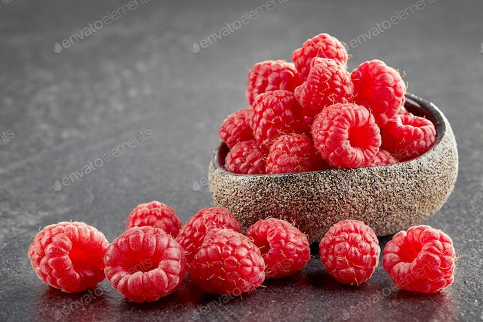 bowl of fresh raspberries