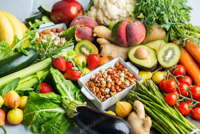 Healthy food for balanced alkaline diet concept