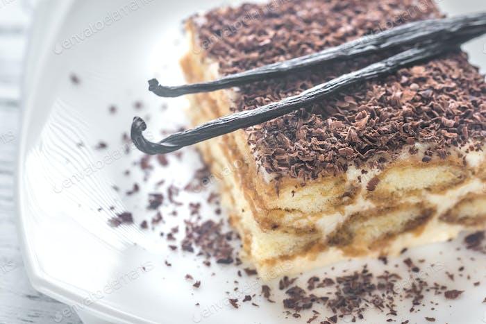 Tiramisu with chocolate topping