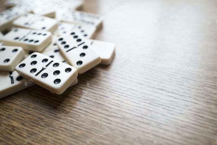 Domino Game, Dominoes On Wooden Table