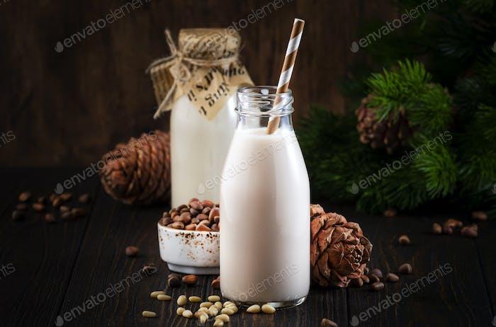 Vegan Cedar nut milk in bottles