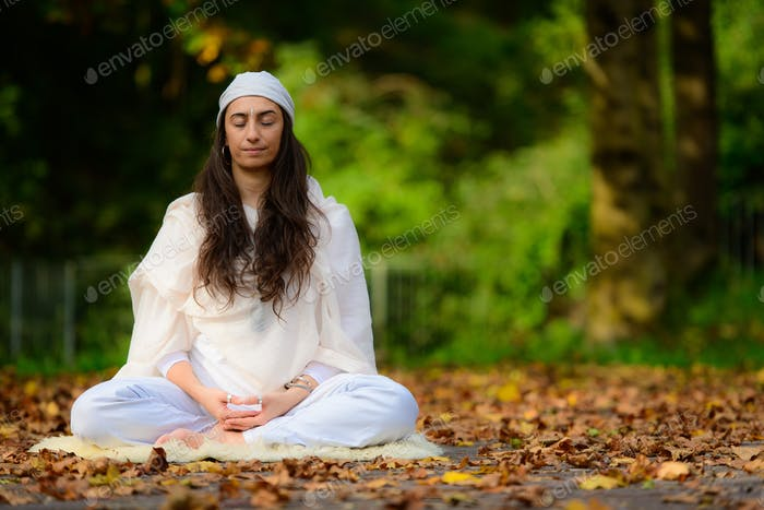 Girl practices yoga