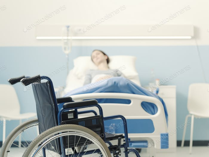 Hospitalized patient lying in bed and wheelchair