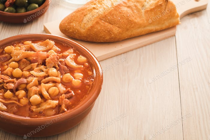 spanish callos, a typical stew with pork or beef tripe, copy space