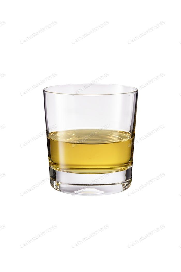 Erfrischende Whiskey ordentlich Cocktail auf Weiß