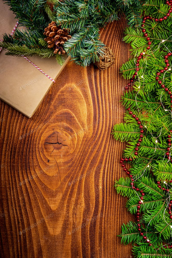 Christmas Festive Border Background. Flat Lay Top View.