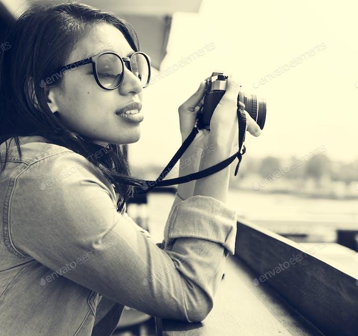 Woman Photographer Hipster Street Ware Traveler Concept