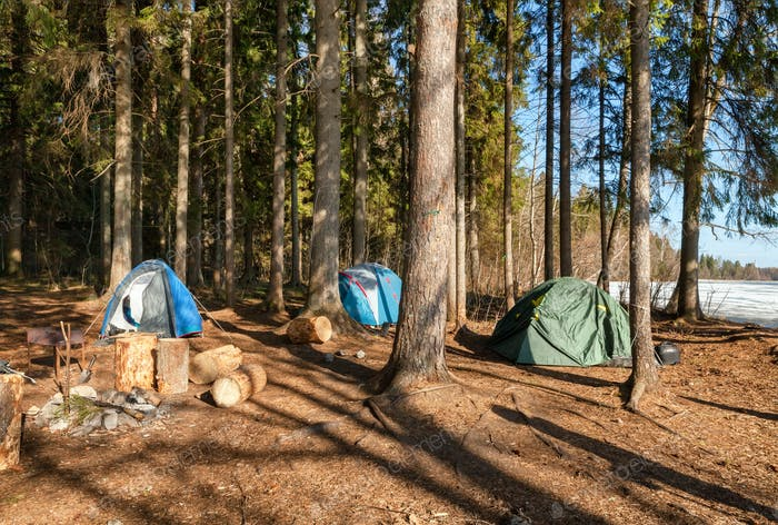 Tourist camp with tents