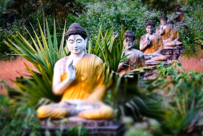 Lot Buddhas statues in Loumani Buddha Garden.  Hpa-An, Myanmar