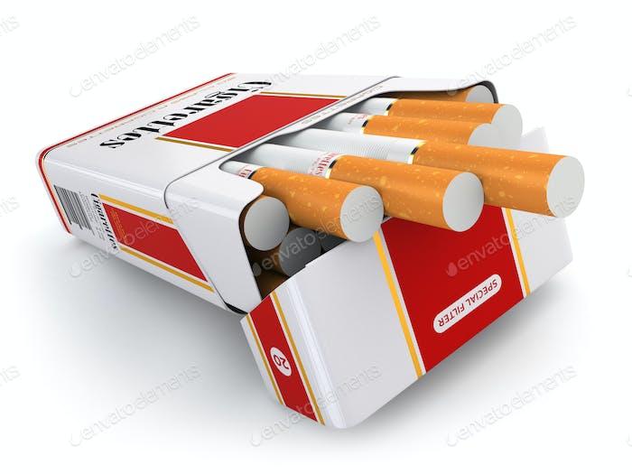 Zigarettenpackung auf weißem isoliertem Hintergrund.