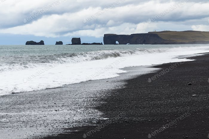 view of Reynisfjara Beach and Dyrholaey cape