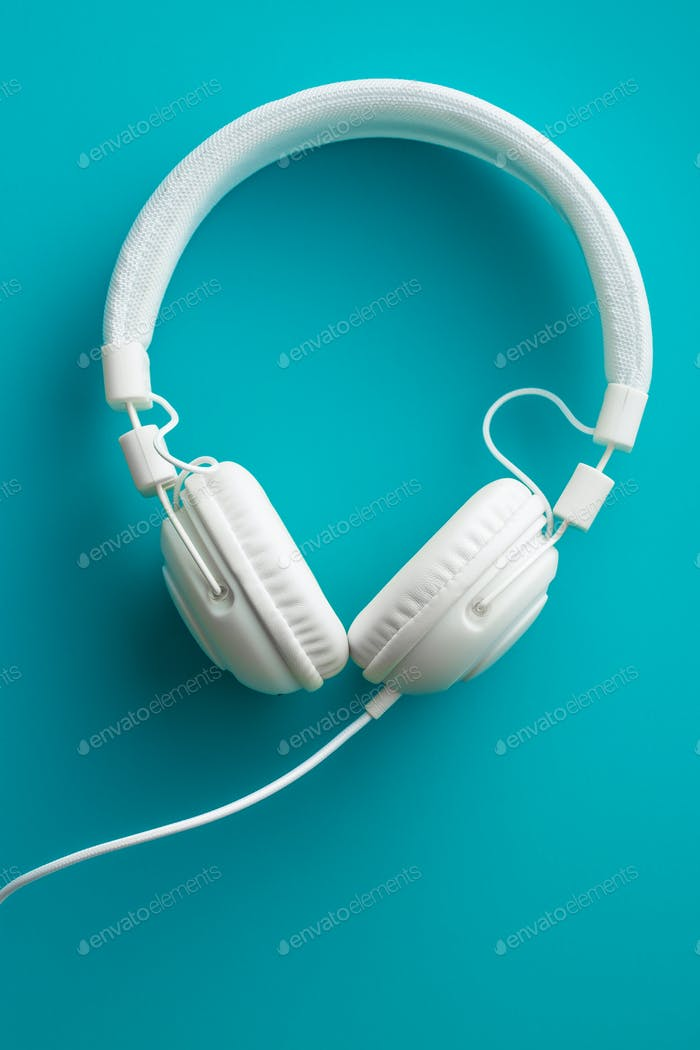 White vintage headphones.