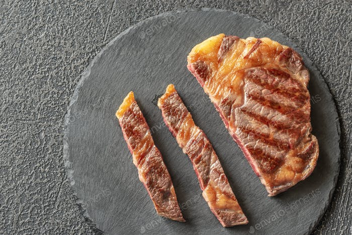 Grilled beef steak: top view