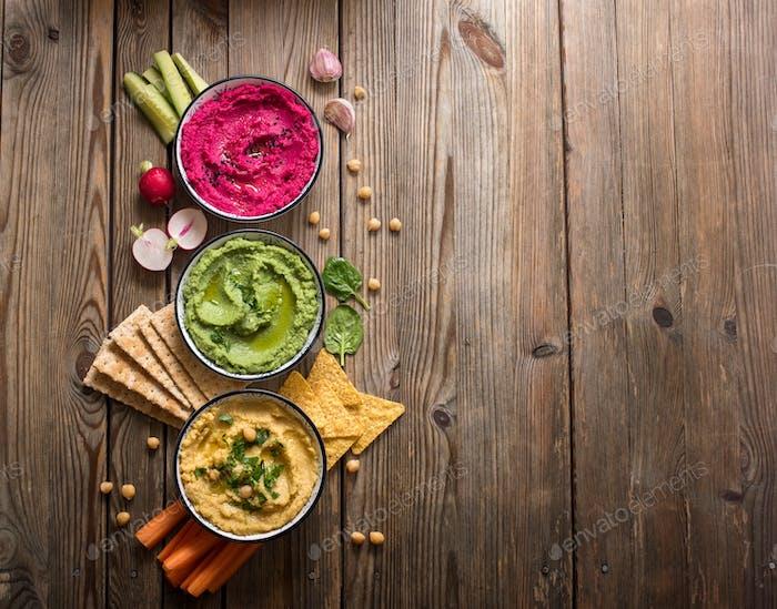 Verschiedene Hummus-Dips, Veganer Snack