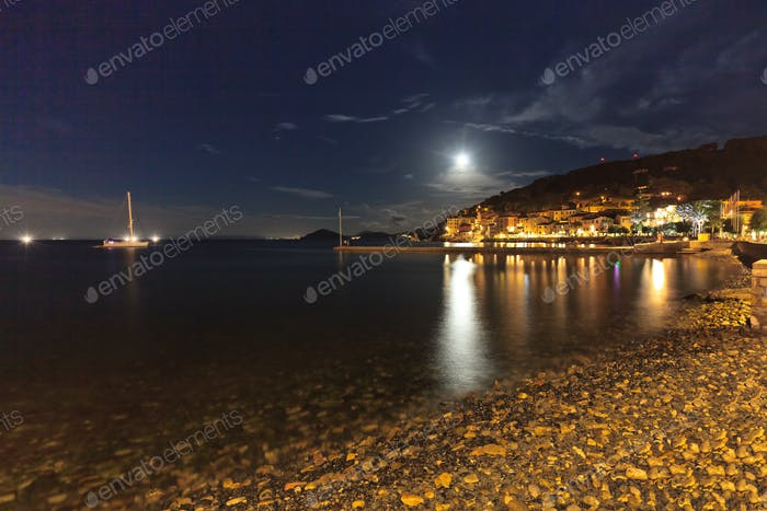 View of Marciana Marina in night