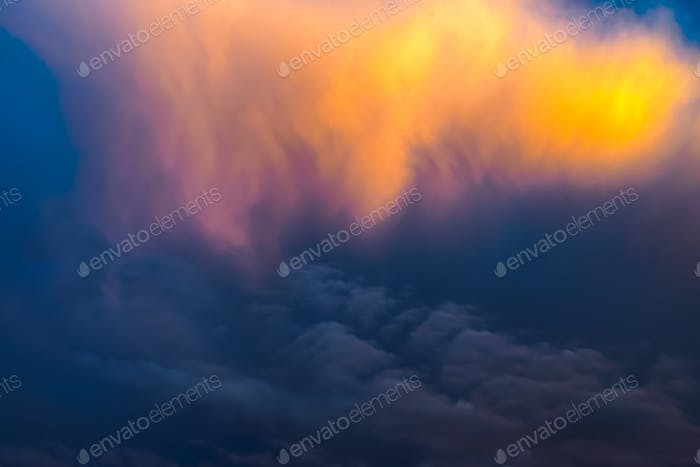 Golden clouds at sunset