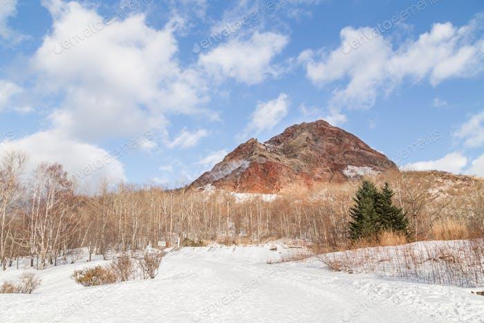 Showa Shinzan, new mountain created from volcanic eruption in 1943, Lake Toya Hokkaido, Japan