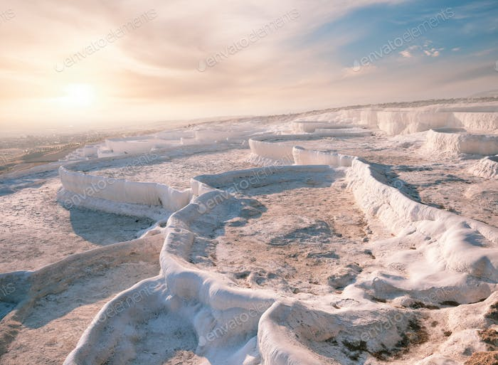 Travertine terraces without water in Pamukkale