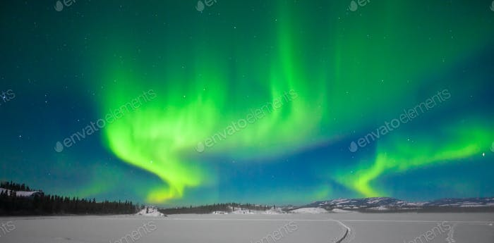 Northern lights Aurora borealis snowscape dance
