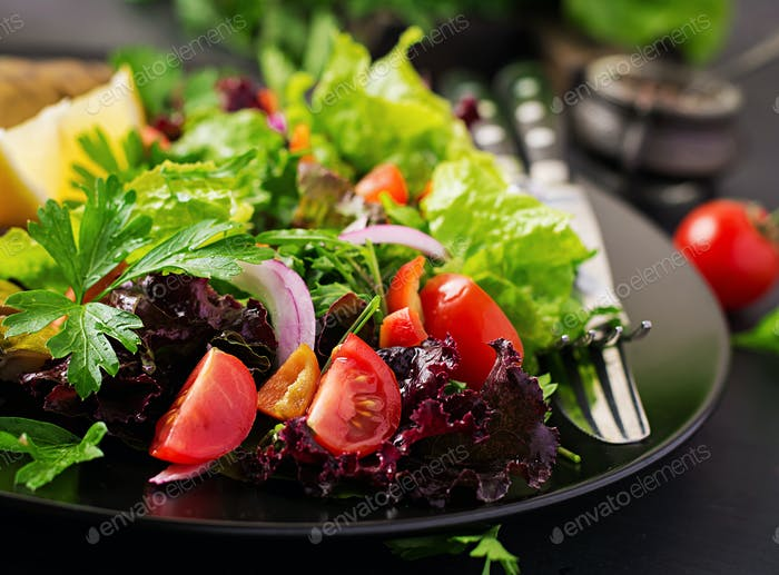 Closeup of vegetable salad on dark background. Vegan food