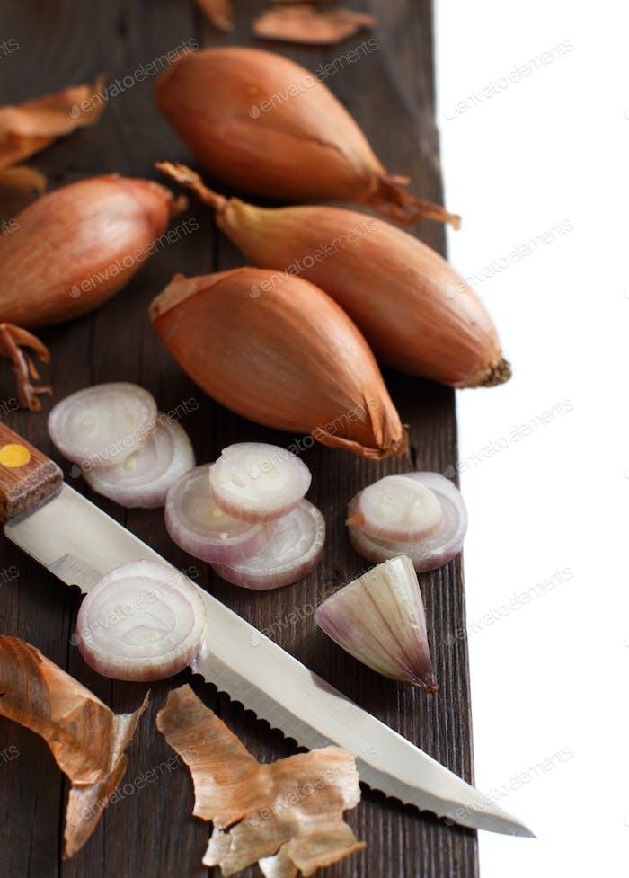 Organic  onion on wooden table