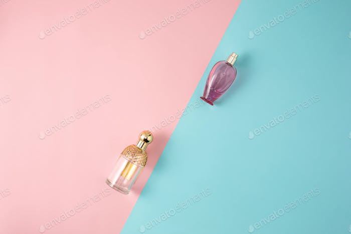 Cosmetics on modern colorful background