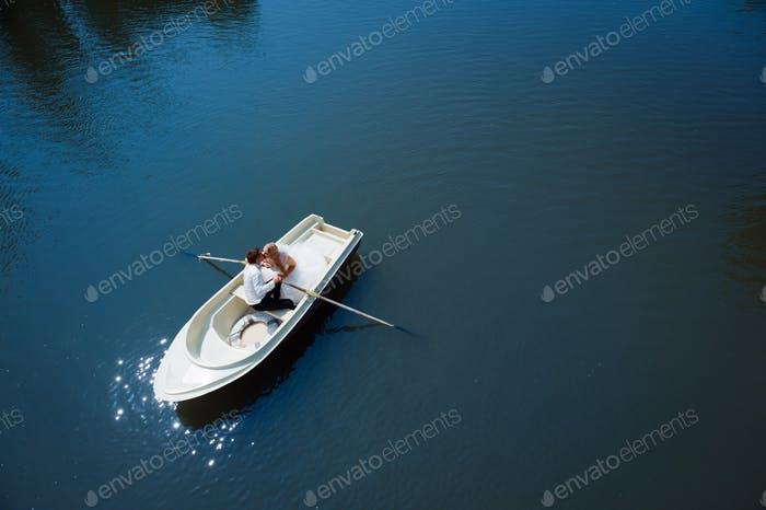 Newlywed couple on the boat