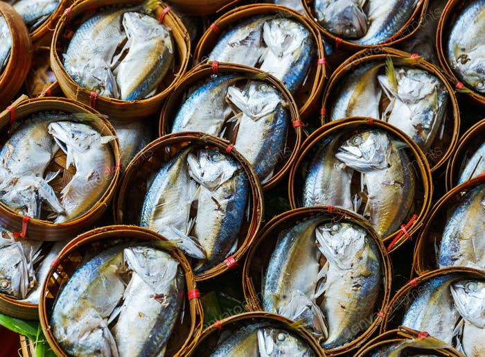 Fish in barrels for sell at market