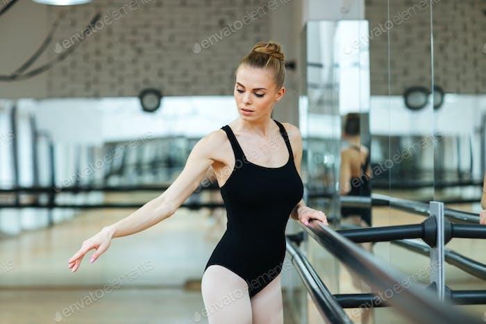 Ballerina practicing in ballet class