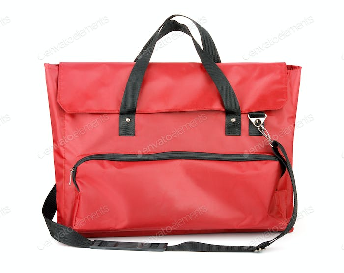 Red painter carrying bags