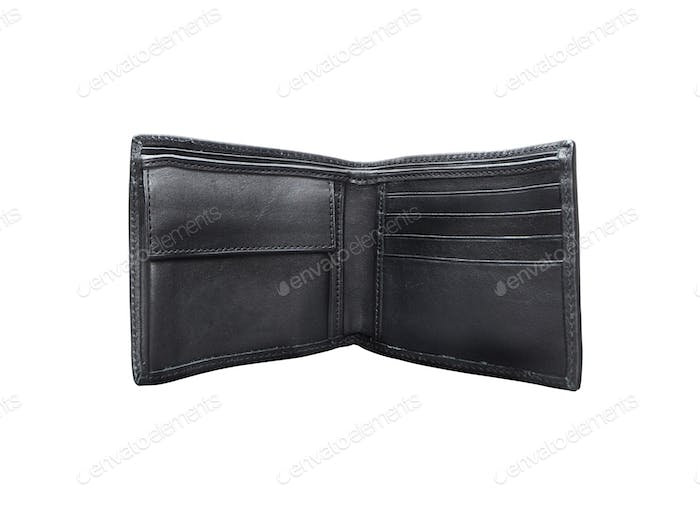 Open black wallet. On a white background.