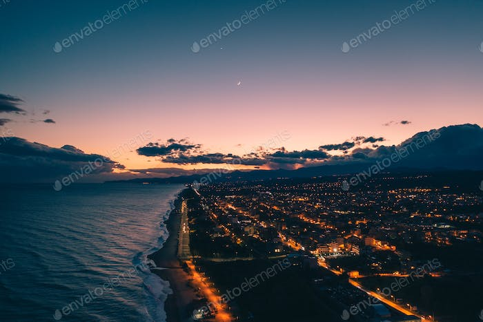 Lights of a city in the Night Aerial