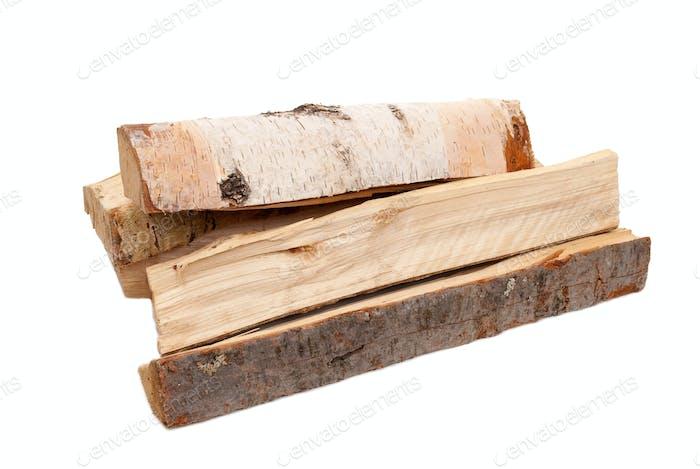 Brennholz auf weiß