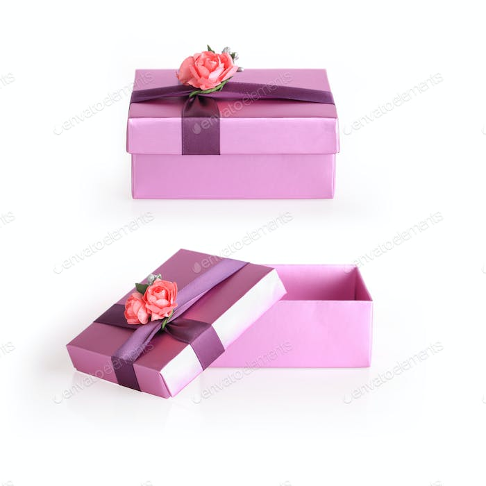 purple gift box with ribbon flower