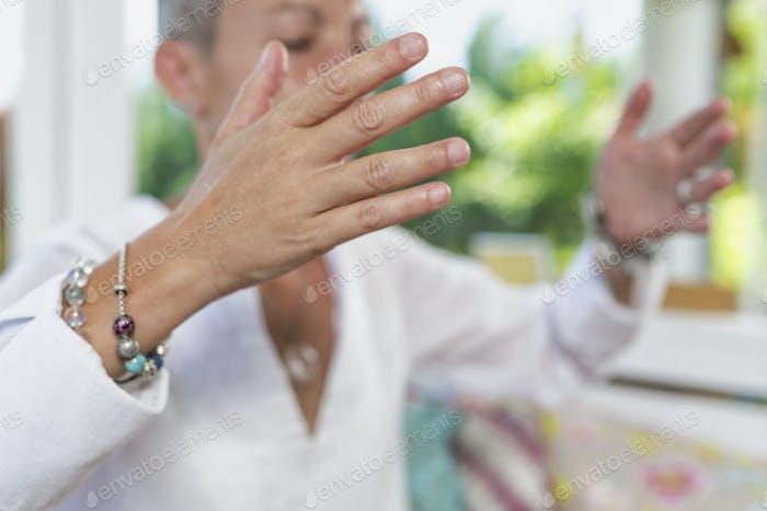 Dankbarkeit Meditation Handgeste