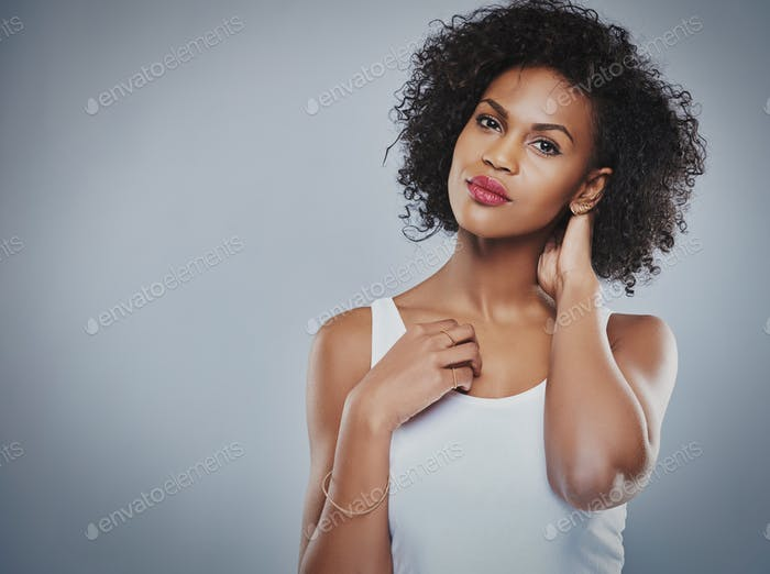 Gorgeous Black woman with copy space