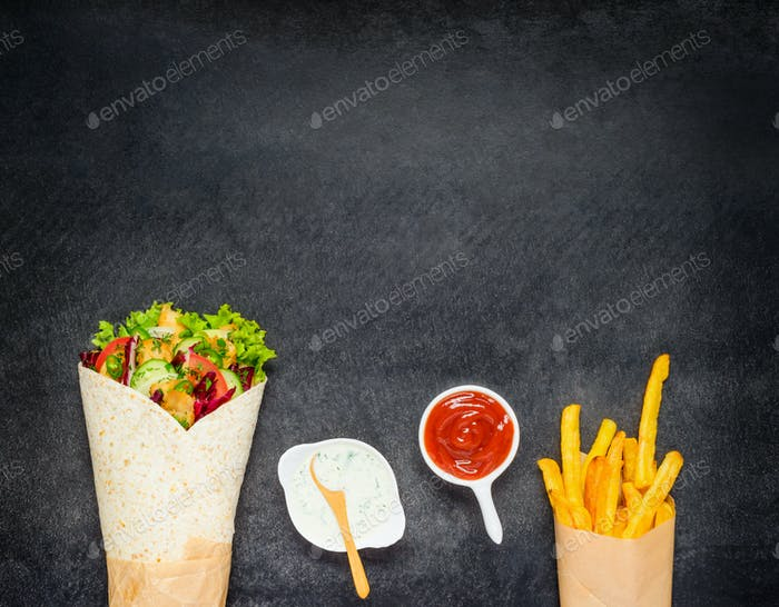 Shawarma with French Fries on Copy Space