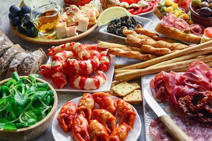 Italian antipasti snacks set