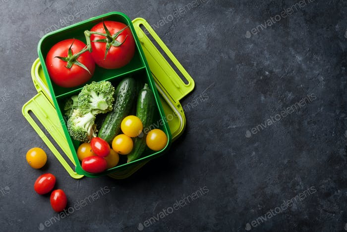 Lunch box with vegetables