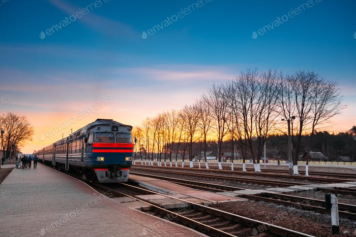 Arriving train diesel locomotive in a railway station in Belarus