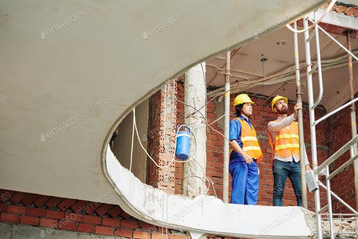 Engineer inspecting construction site