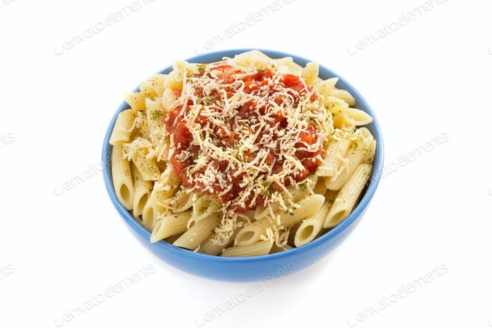 pasta Penne in plate on white background