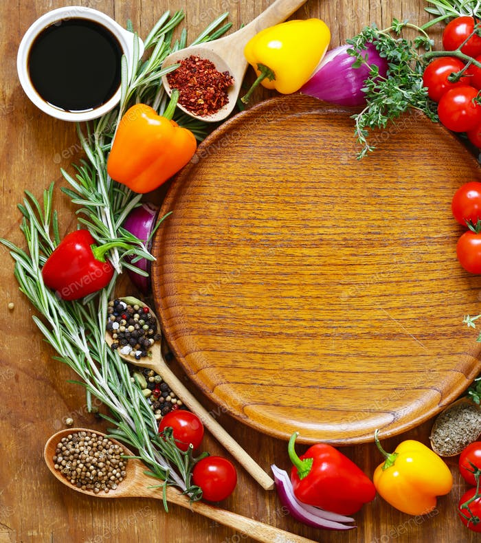 Kräuter und Gewürze, Gemüse und Saucen