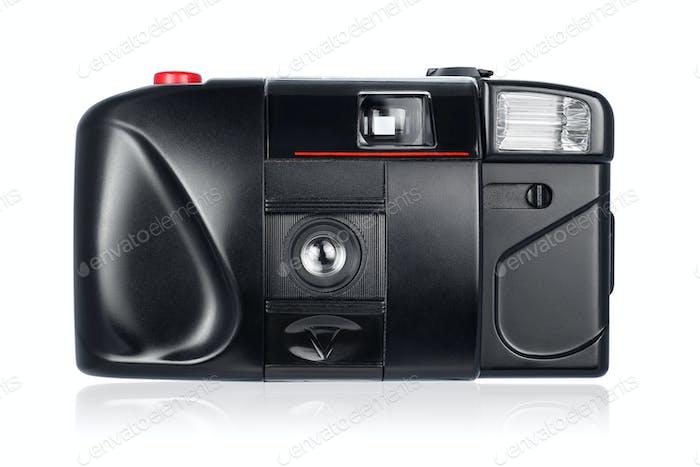 Черная компактная камера изолирована на белом фоне