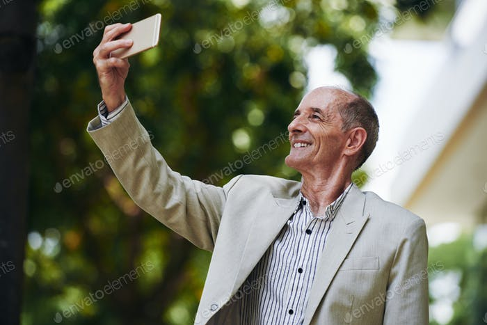 Photographing old man