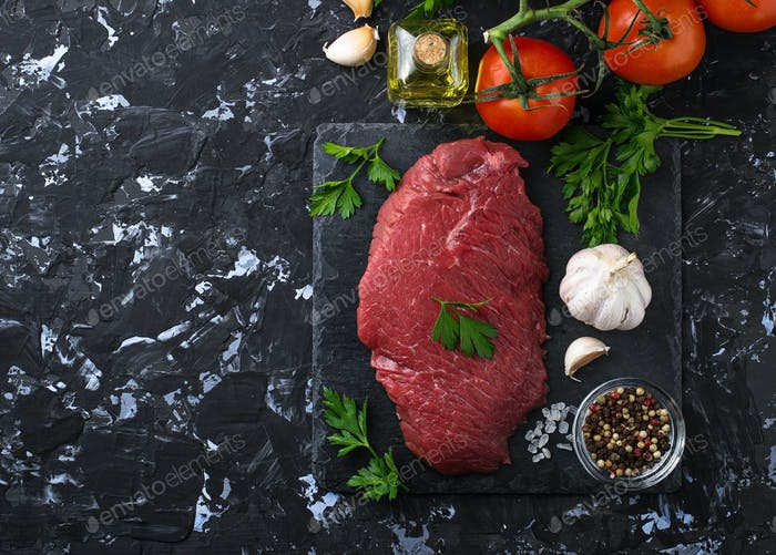 Raw fresh beef steak and vegetable