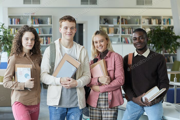 Group of Students in College Library