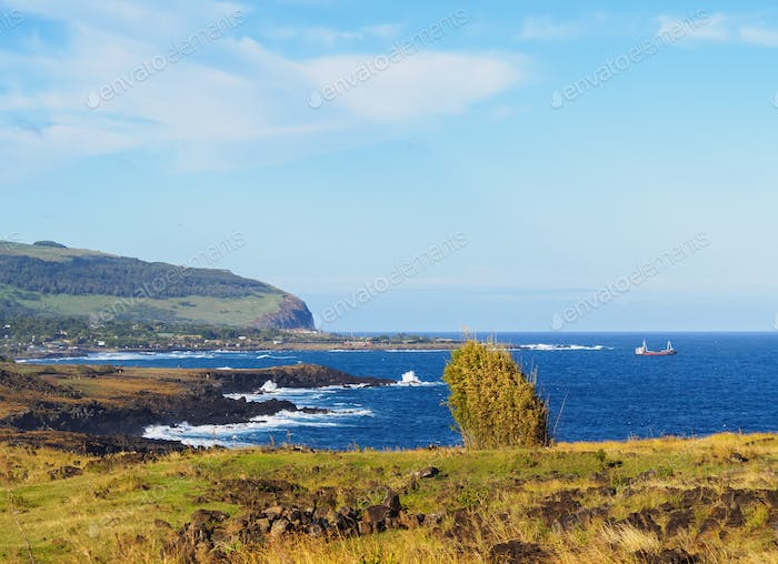 Landscape of Easter Island, Chile