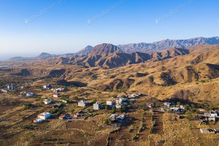 Aerial view of Rebeirao Manuel in Santiago island in Cape Verde - Cabo Verde