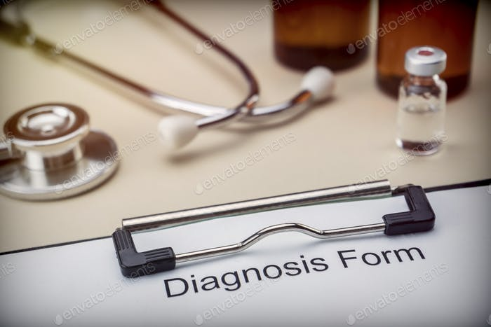 Diagnostic form in hospital, conceptual image